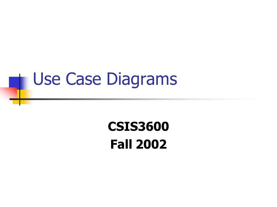 Use Case Diagrams CSIS3600 Fall 2002