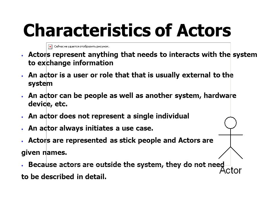 Characteristics of Actors  Actors represent anything that needs to interacts with the system to exchange information  An actor is a user or role tha
