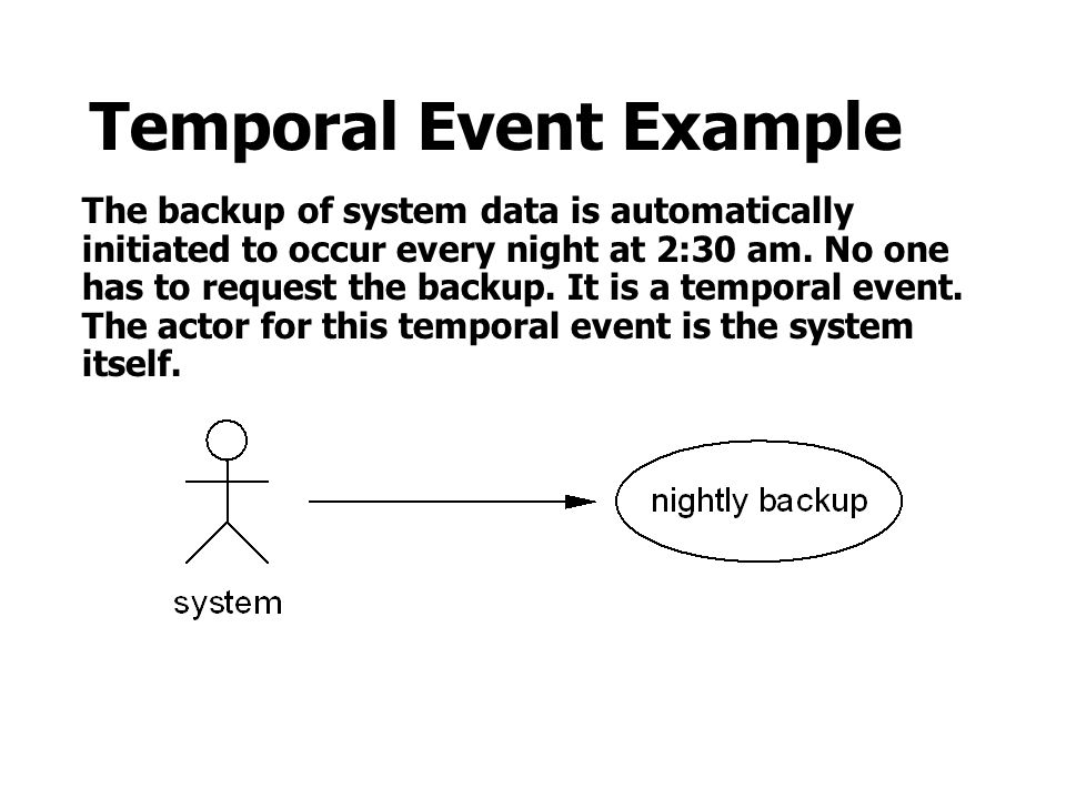 Temporal Event Example The backup of system data is automatically initiated to occur every night at 2:30 am.