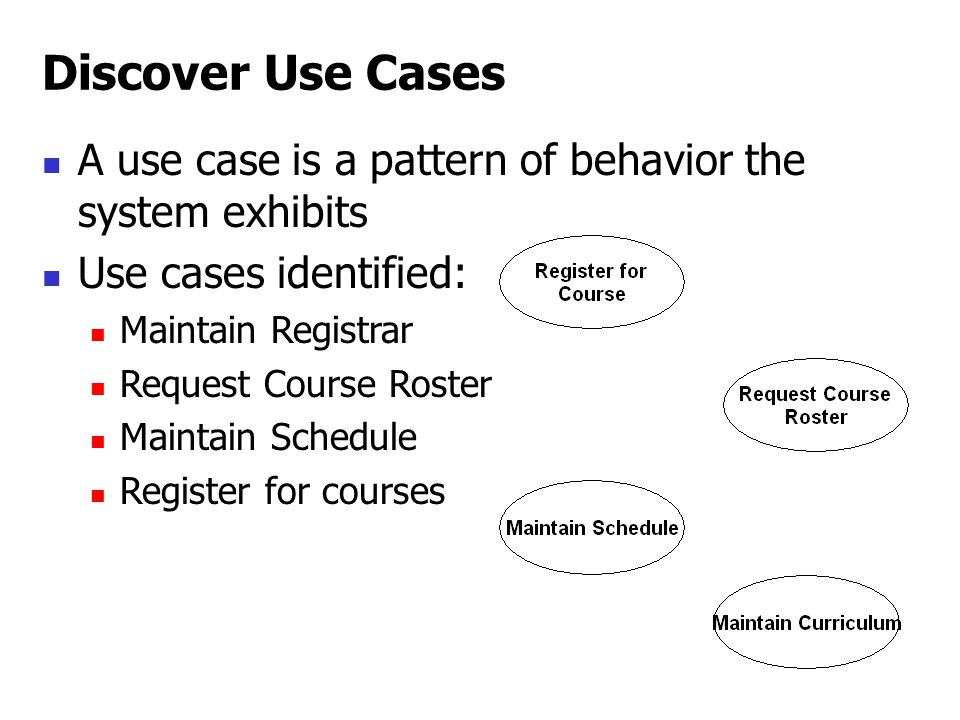 A use case is a pattern of behavior the system exhibits Use cases identified: Maintain Registrar Request Course Roster Maintain Schedule Register for