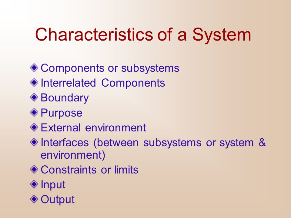 Characteristics of a System Components or subsystems Interrelated Components Boundary Purpose External environment Interfaces (between subsystems or s