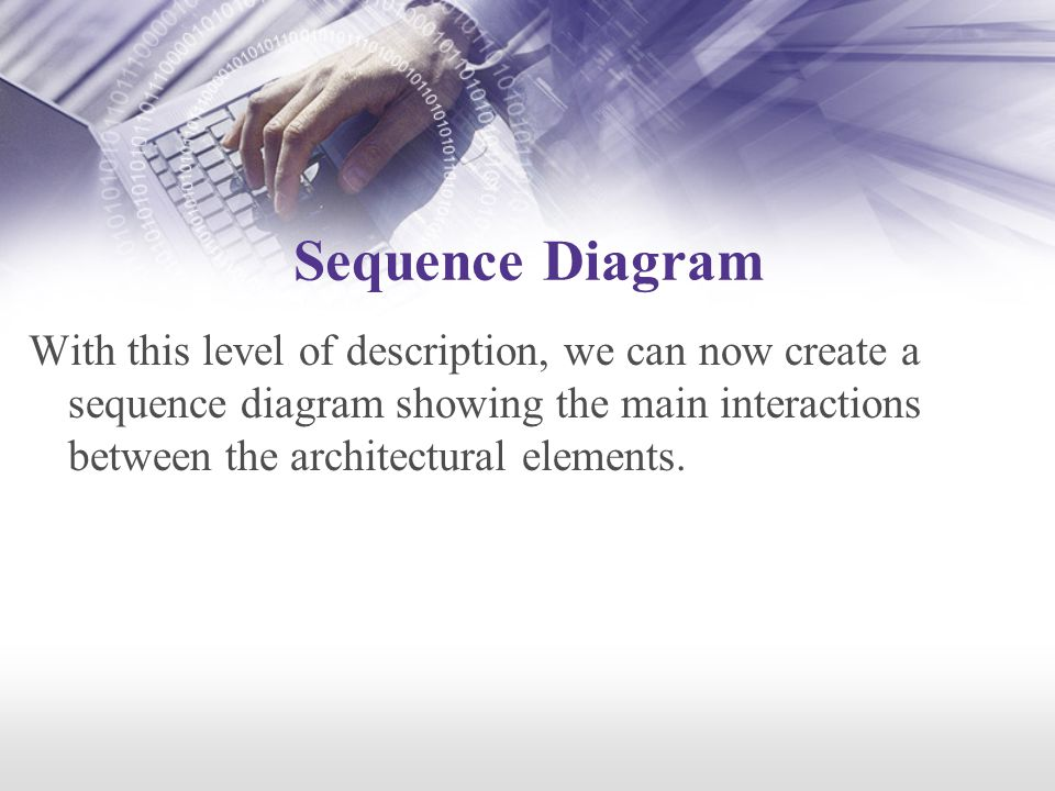 Sequence Diagram With this level of description, we can now create a sequence diagram showing the main interactions between the architectural elements.