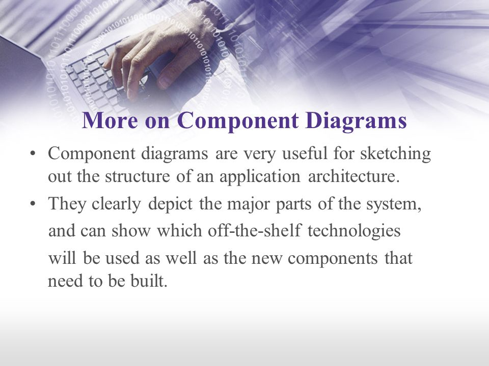 More on Component Diagrams Component diagrams are very useful for sketching out the structure of an application architecture.