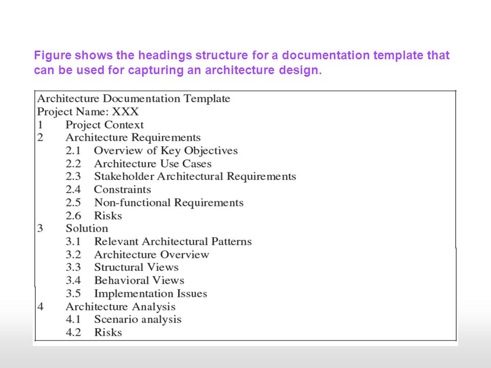 Figure shows the headings structure for a documentation template that can be used for capturing an architecture design.
