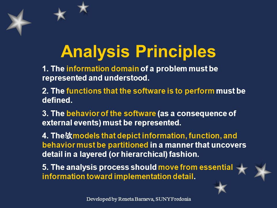 Developed by Reneta Barneva, SUNY Fredonia Analysis Principles 1. The information domain of a problem must be represented and understood. 2. The funct