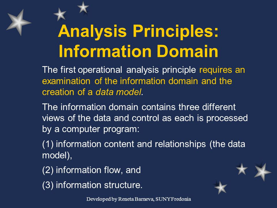 Developed by Reneta Barneva, SUNY Fredonia Analysis Principles: Information Domain The first operational analysis principle requires an examination of