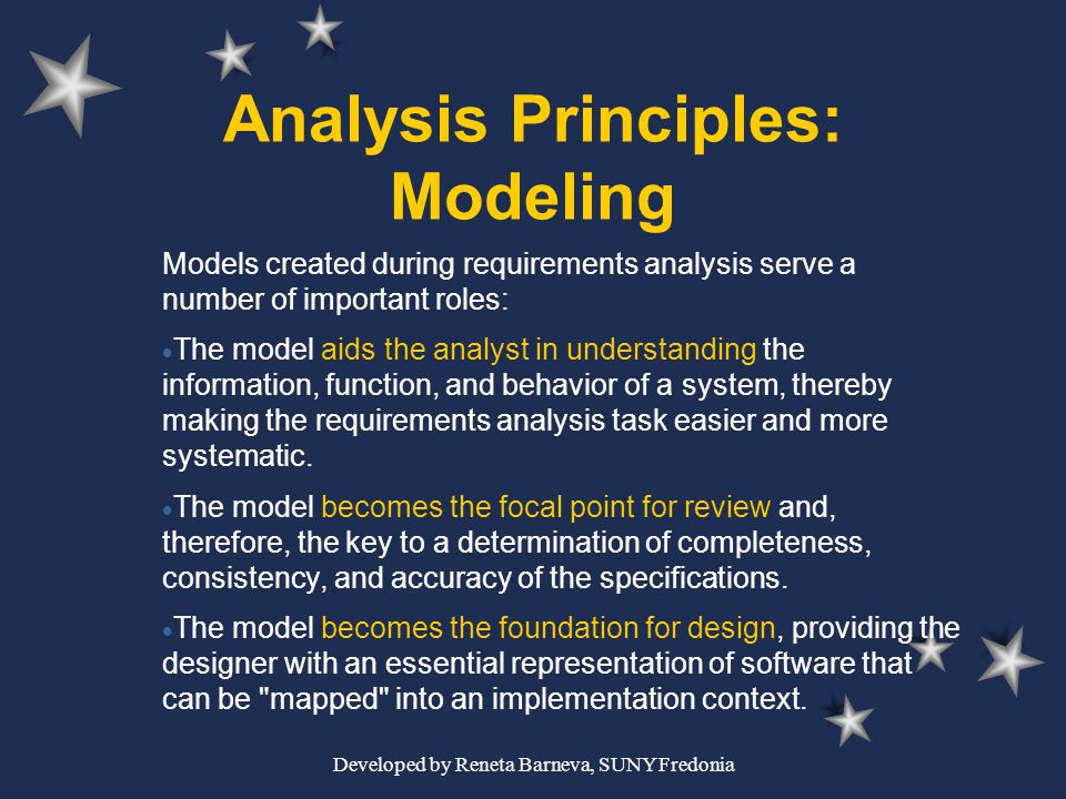 Developed by Reneta Barneva, SUNY Fredonia Analysis Principles: Modeling Models created during requirements analysis serve a number of important roles