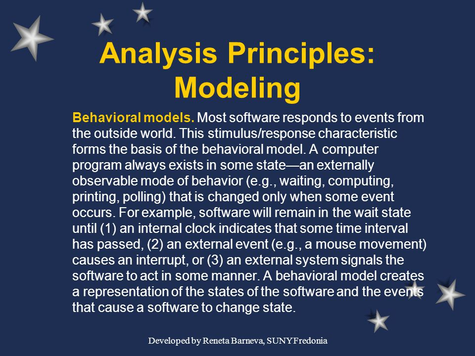 Developed by Reneta Barneva, SUNY Fredonia Analysis Principles: Modeling Behavioral models. Most software responds to events from the outside world. T