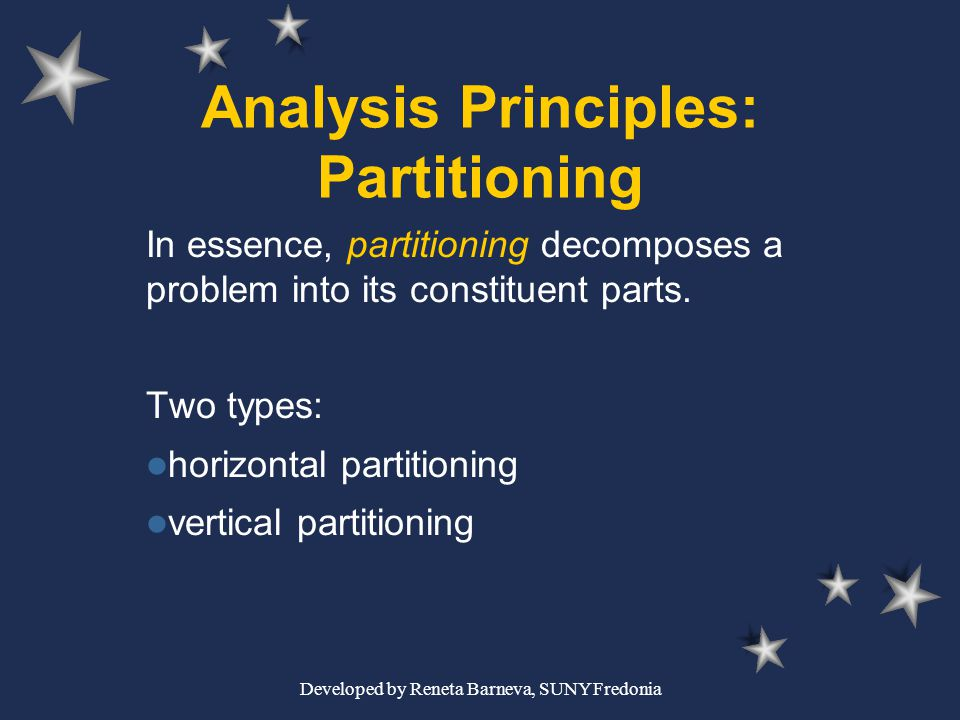 Developed by Reneta Barneva, SUNY Fredonia Analysis Principles: Partitioning In essence, partitioning decomposes a problem into its constituent parts.