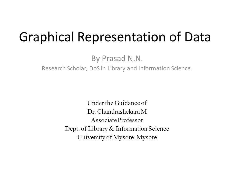 Graphical Representation of Data By Prasad N.N. Research Scholar, DoS in Library and Information Science. Under the Guidance of Dr. Chandrashekara M A
