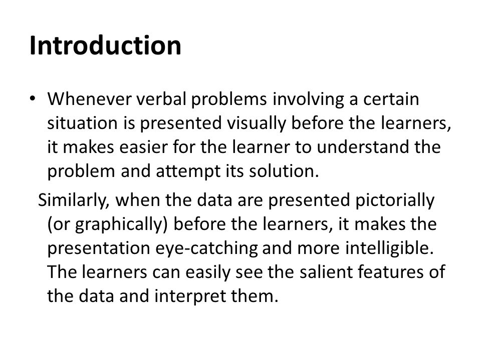 Introduction Whenever verbal problems involving a certain situation is presented visually before the learners, it makes easier for the learner to unde