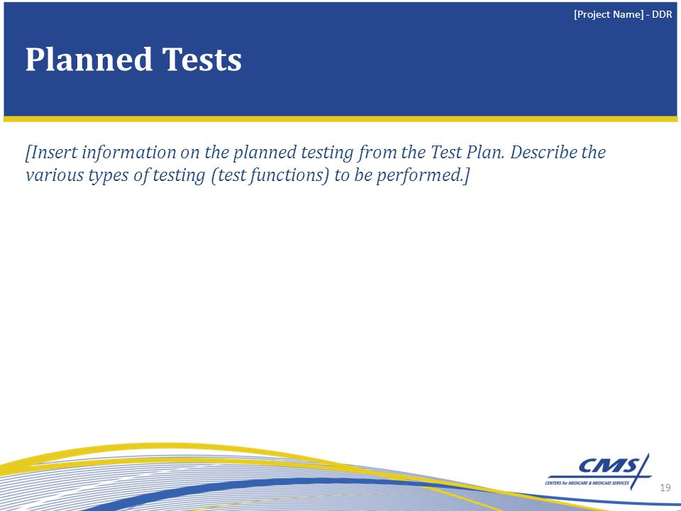 [Project Name] - DDR [Insert information on the planned testing from the Test Plan.