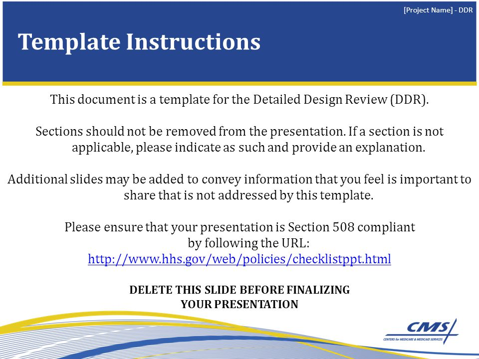 [Project Name] - DDR Template Revision History DELETE THIS SLIDE BEFORE FINALIZING YOUR PRESENTATION VersionDateAuthorDescription of Changes 1.002/2010K.