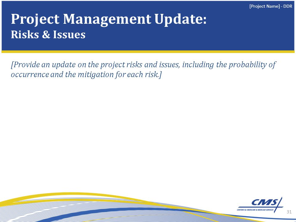 [Project Name] - DDR [Provide an update on the project risks and issues, including the probability of occurrence and the mitigation for each risk.] 31 Project Management Update: Risks & Issues