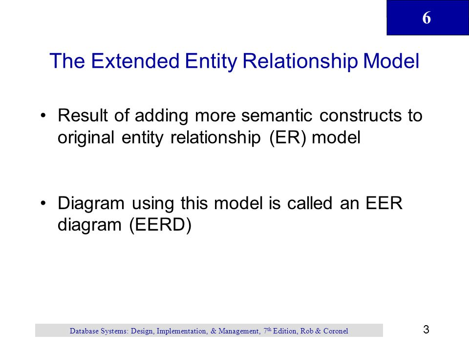 6 44 Database Systems: Design, Implementation, & Management, 7 th Edition, Rob & Coronel Summary (continued) Fan trap occurs when you have one entity in two 1:M relationships to other entities and there is an association among the other entities that is not expressed in model Data modeling checklist provides way for designer to check that the ERD meets set of minimum requirements