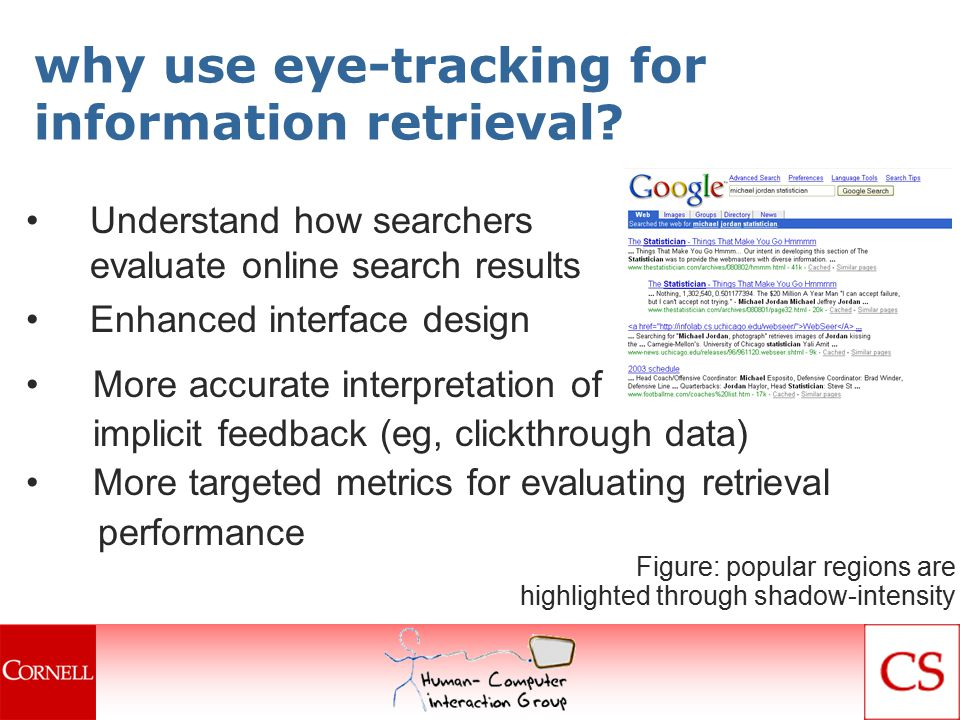 conclusions Document selected in under 5 seconds Users click on the first promising link they see Results viewed linearly Top 2 results most likely to be viewed Users rather reformulate query than scroll Task type and difficulty affect viewing behavior Presentation of results affects selection