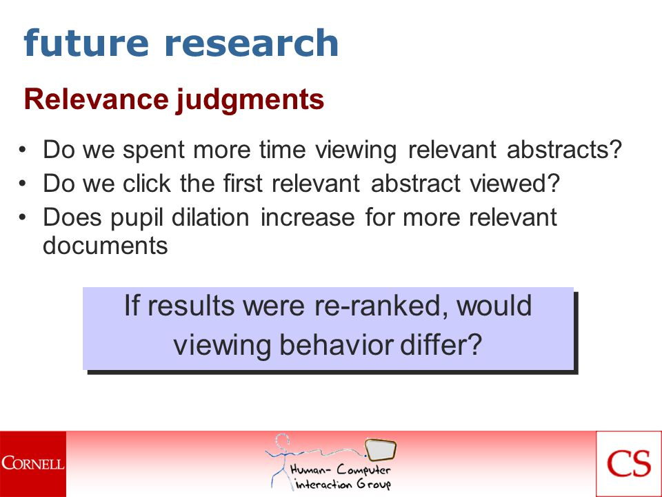 future research Relevance judgments Do we spent more time viewing relevant abstracts.