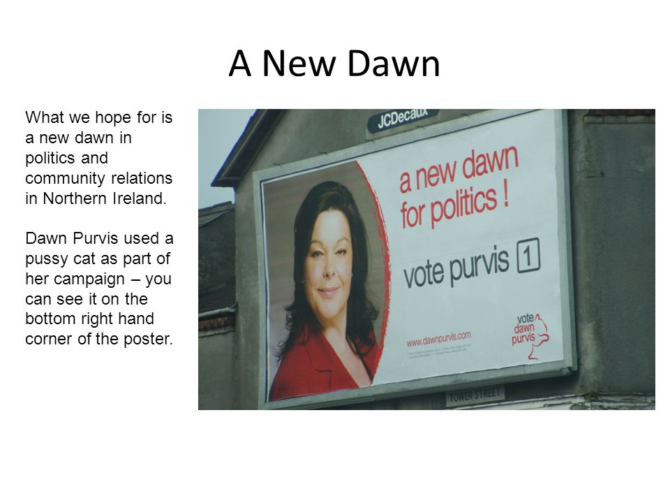 A New Dawn What we hope for is a new dawn in politics and community relations in Northern Ireland. Dawn Purvis used a pussy cat as part of her campaig