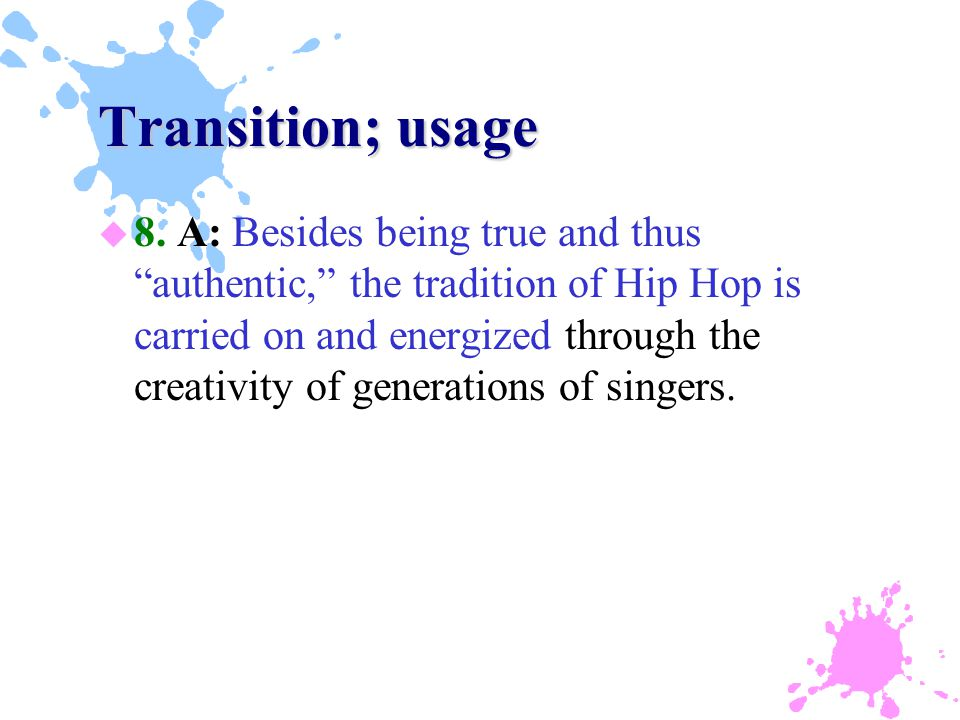 Transition; usage u 8.