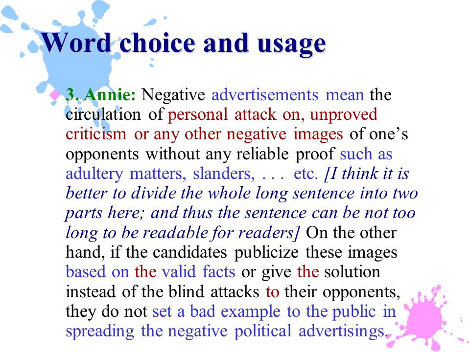 Word choice and usage u 3.