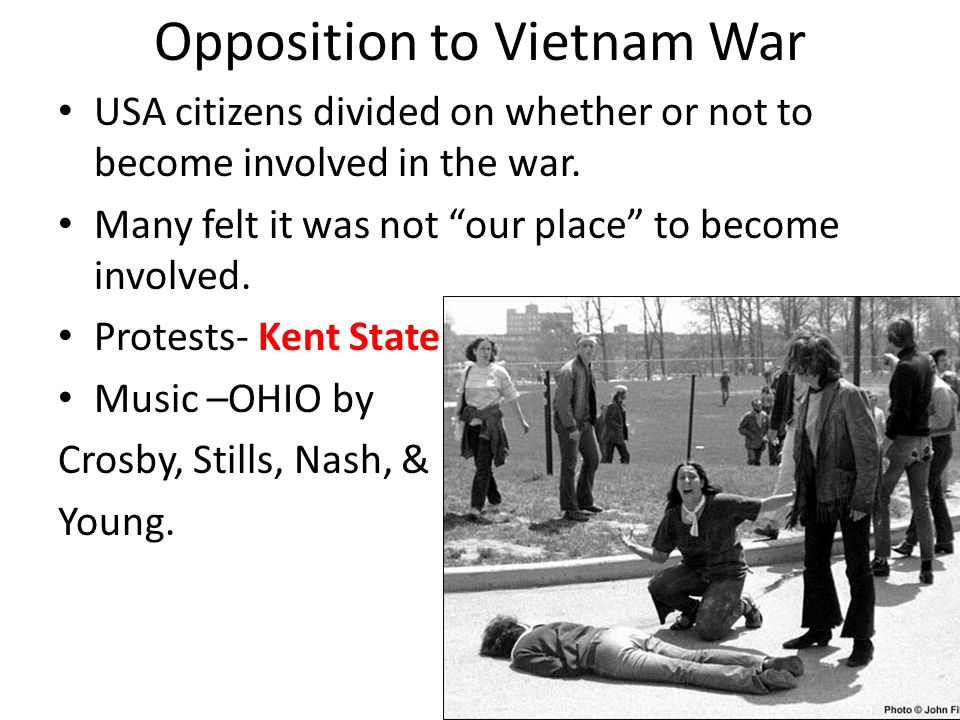 Opposition to Vietnam War USA citizens divided on whether or not to become involved in the war.