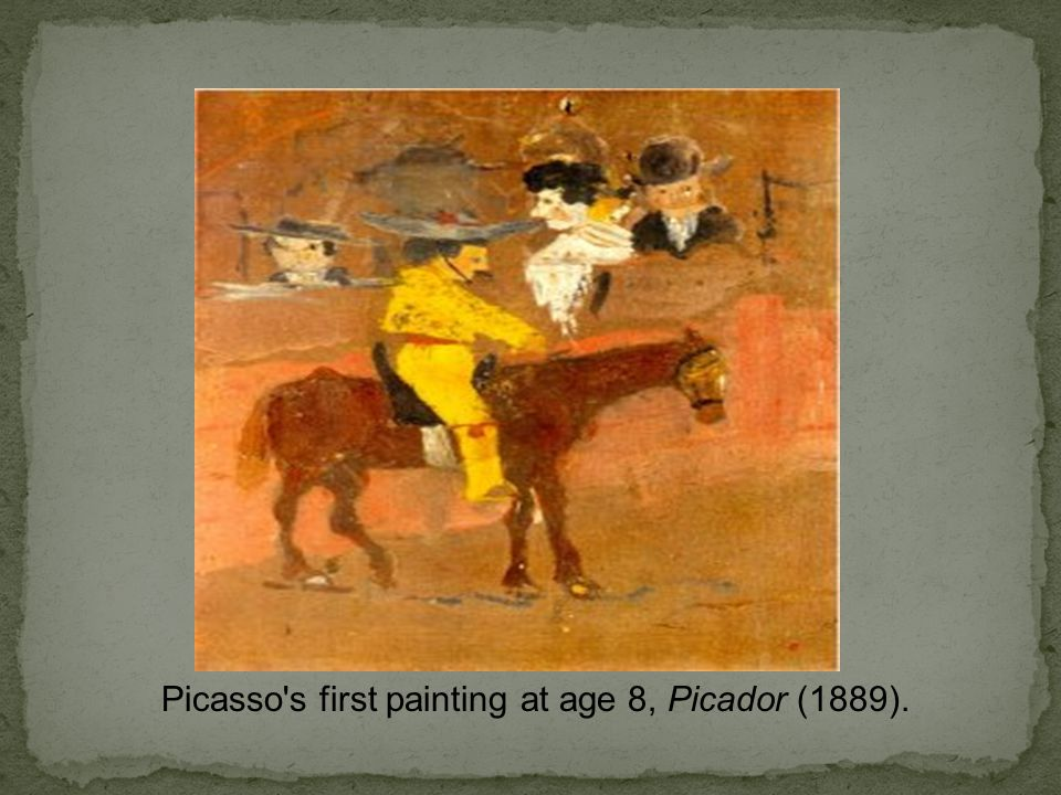 Picasso's first painting at age 8, Picador (1889).