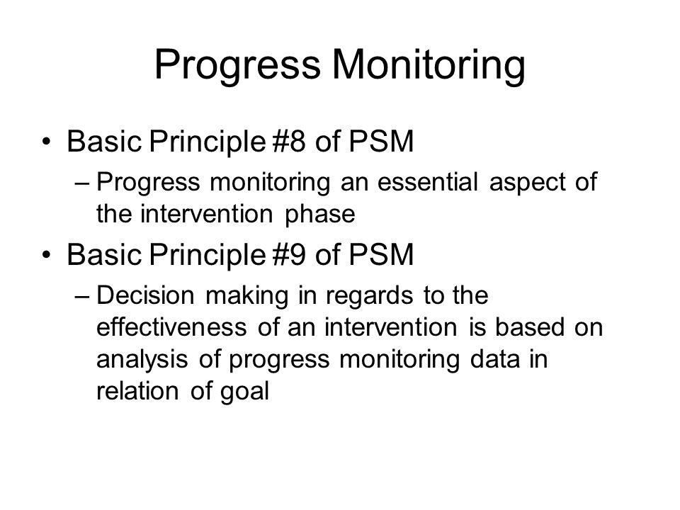Progress Monitoring Basic Principle #8 of PSM –Progress monitoring an essential aspect of the intervention phase Basic Principle #9 of PSM –Decision m