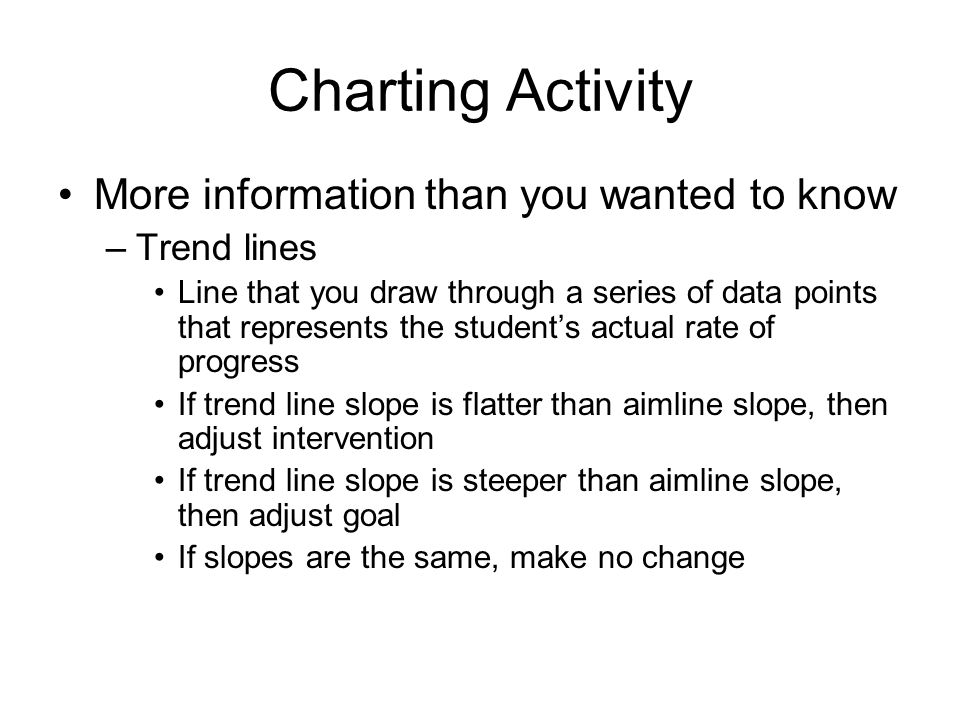 Charting Activity More information than you wanted to know –Trend lines Line that you draw through a series of data points that represents the student