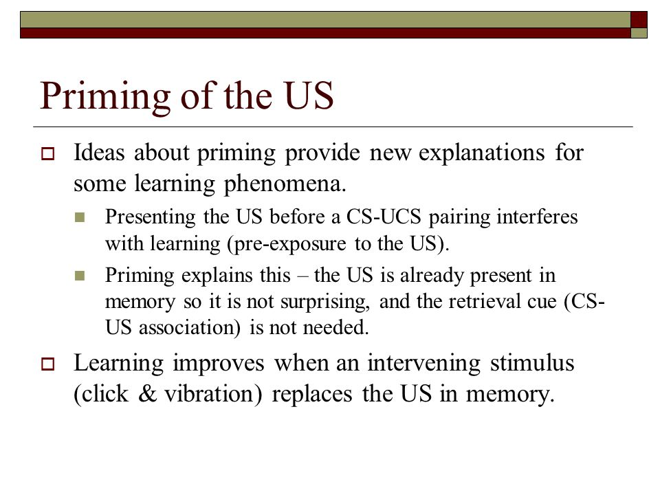 Priming of the US  Ideas about priming provide new explanations for some learning phenomena.