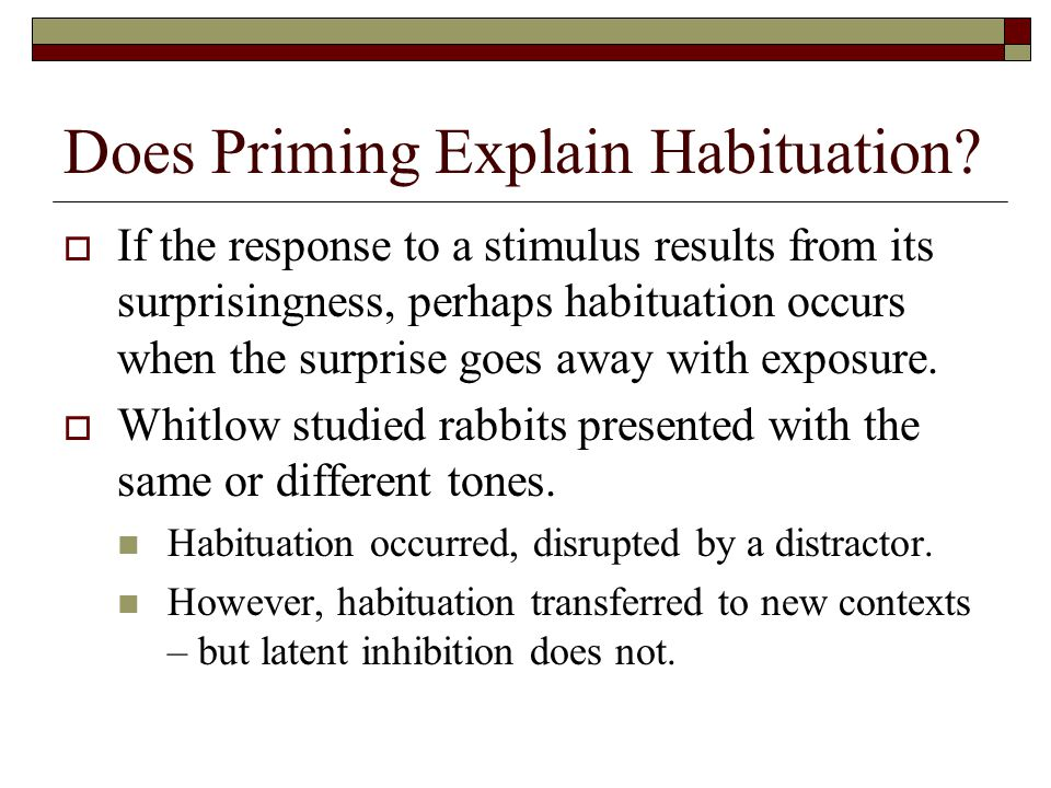 Does Priming Explain Habituation.