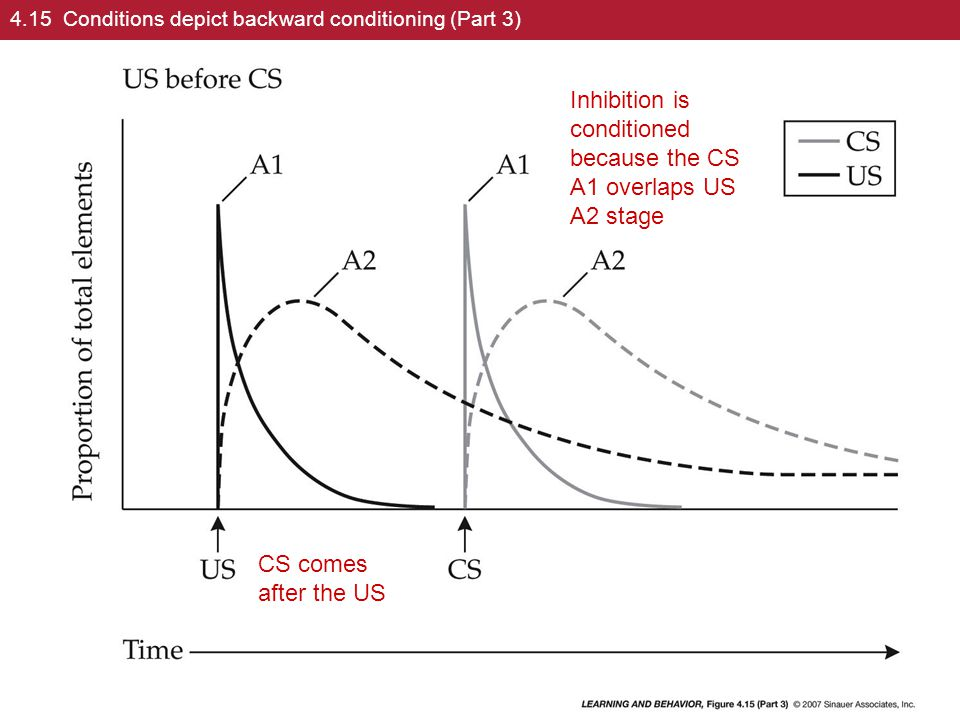 4.15 Conditions depict backward conditioning (Part 3) CS comes after the US Inhibition is conditioned because the CS A1 overlaps US A2 stage