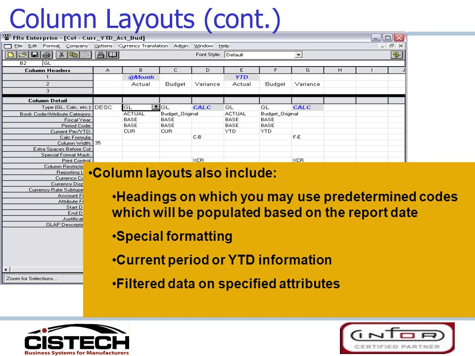 Column Layouts (cont.) Column layouts also include: Headings on which you may use predetermined codes which will be populated based on the report date Special formatting Current period or YTD information Filtered data on specified attributes