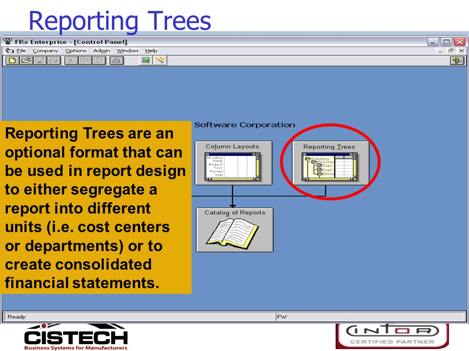 Reporting Trees Reporting Trees are an optional format that can be used in report design to either segregate a report into different units (i.e.