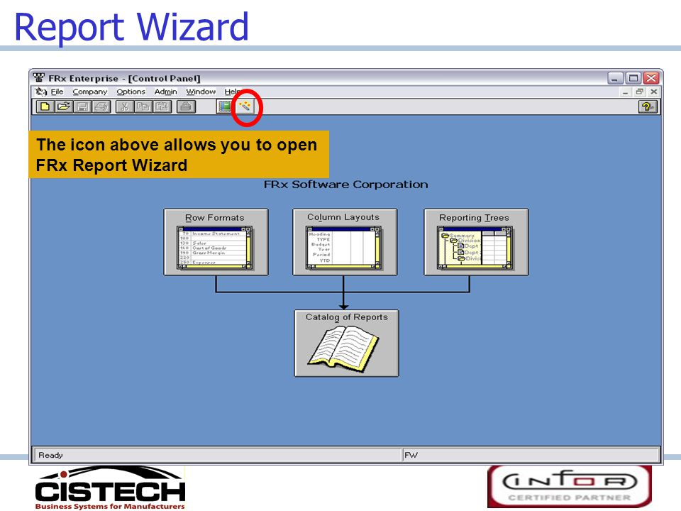 Report Wizard The icon above allows you to open FRx Report Wizard