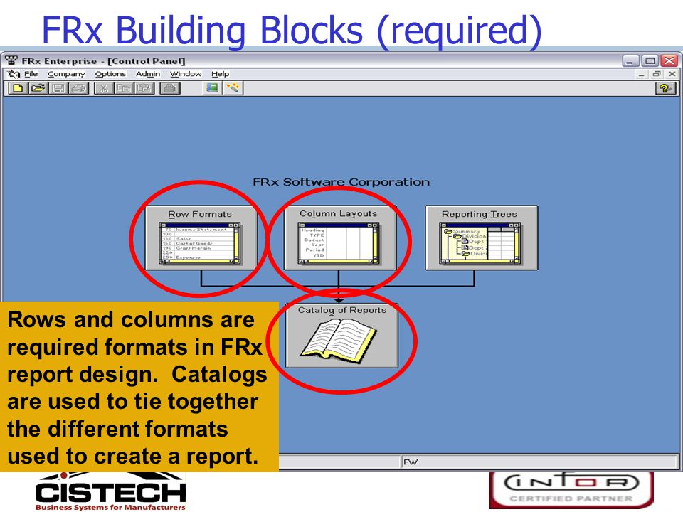 FRx Building Blocks (required) Rows and columns are required formats in FRx report design.