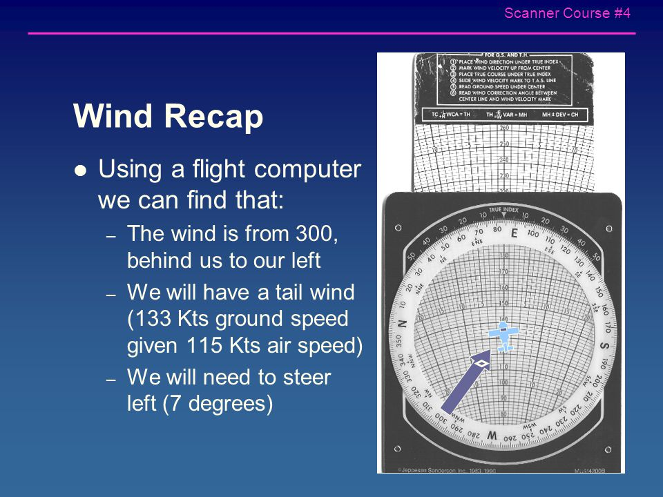 Scanner Course #4 Additional information needed to compute wind correction angle and ground speed True Airspeed 115 Kts – Determined from tables in the aircraft's POH (pilot operating handbook) – Depends on altitude and engine power setting Wind 300 at 24 Kts – Determined from winds aloft forecast