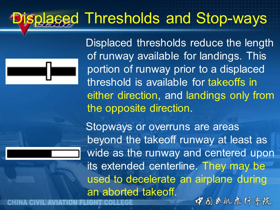 Displaced Thresholds and Stop-ways Displaced thresholds reduce the length of runway available for landings.