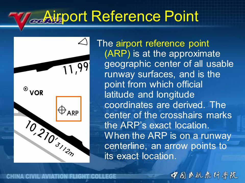 Airport Reference Point The airport reference point (ARP) is at the approximate geographic center of all usable runway surfaces, and is the point from which official latitude and longitude coordinates are derived.