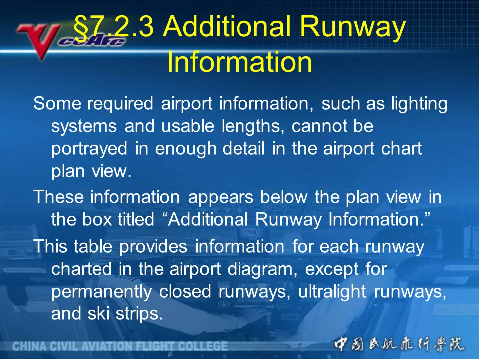 §7.2.3 Additional Runway Information Some required airport information, such as lighting systems and usable lengths, cannot be portrayed in enough detail in the airport chart plan view.