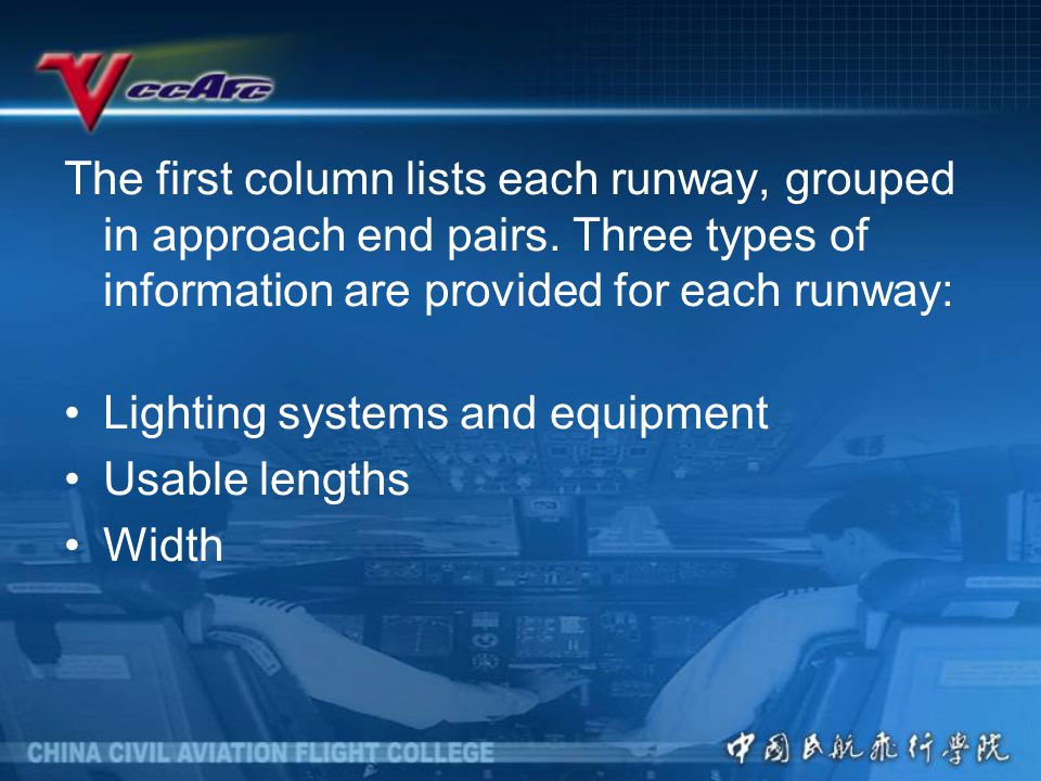 The first column lists each runway, grouped in approach end pairs.