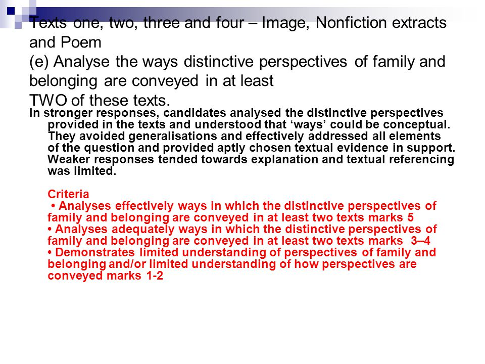 Texts one, two, three and four – Image, Nonfiction extracts and Poem (e) Analyse the ways distinctive perspectives of family and belonging are conveyed in at least TWO of these texts.