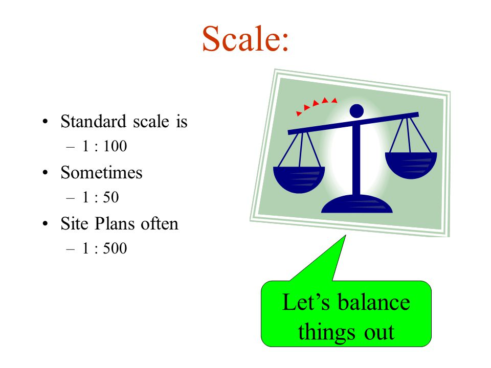 Scale: Standard scale is –1 : 100 Sometimes –1 : 50 Site Plans often –1 : 500 Let's balance things out