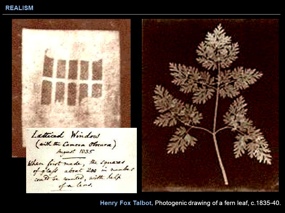 REALISM Henry Fox Talbot, Photogenic drawing of a fern leaf, c.1835-40.