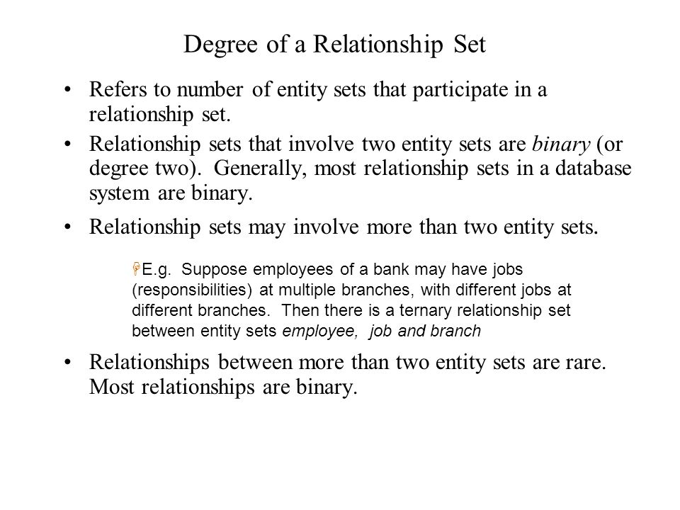Degree of a Relationship Set Refers to number of entity sets that participate in a relationship set. Relationship sets that involve two entity sets ar