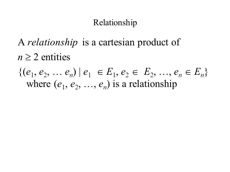 Relationship A relationship is a cartesian product of n  2 entities {(e 1, e 2, … e n ) | e 1  E 1, e 2  E 2, …, e n  E n } where (e 1, e 2, …, e