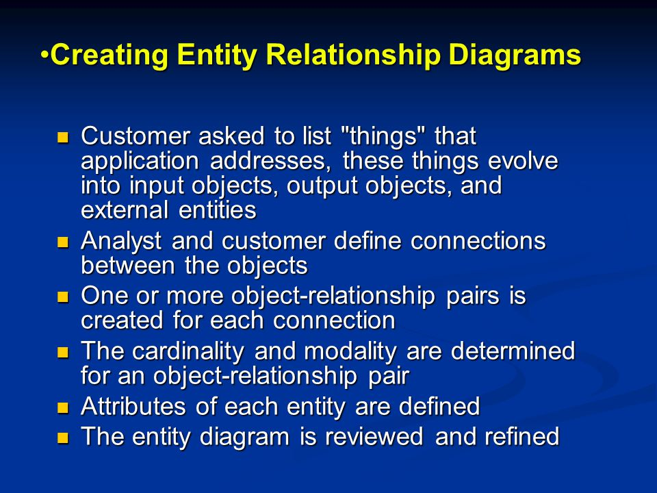 Creating Entity Relationship DiagramsCreating Entity Relationship Diagrams Customer asked to list things that application addresses, these things evolve into input objects, output objects, and external entities Customer asked to list things that application addresses, these things evolve into input objects, output objects, and external entities Analyst and customer define connections between the objects Analyst and customer define connections between the objects One or more object-relationship pairs is created for each connection One or more object-relationship pairs is created for each connection The cardinality and modality are determined for an object-relationship pair The cardinality and modality are determined for an object-relationship pair Attributes of each entity are defined Attributes of each entity are defined The entity diagram is reviewed and refined The entity diagram is reviewed and refined