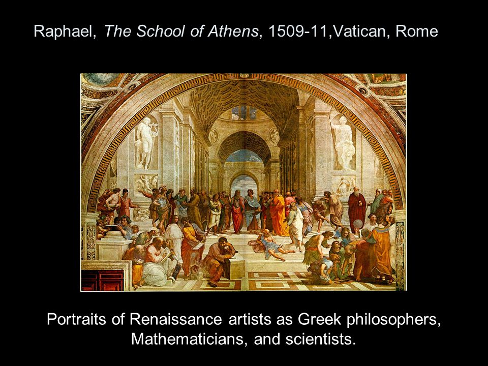 Raphael, The School of Athens, 1509-11,Vatican, Rome Portraits of Renaissance artists as Greek philosophers, Mathematicians, and scientists.