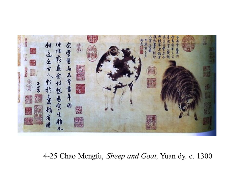 4-25 Chao Mengfu, Sheep and Goat, Yuan dy. c. 1300