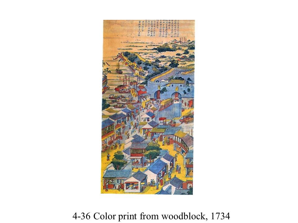 4-36 Color print from woodblock, 1734