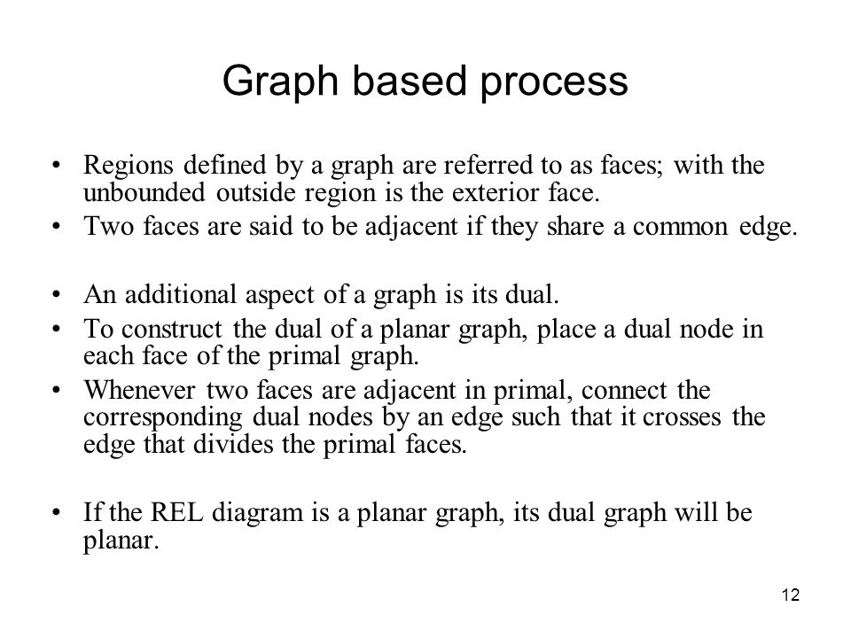 12 Graph based process Regions defined by a graph are referred to as faces; with the unbounded outside region is the exterior face.